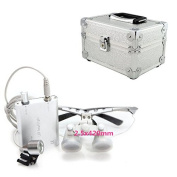 icarekit 2.5X 420mm! Silver Dental Surgical Medical Binocular Loupes + LED Head Light Lamp + Aluminium box