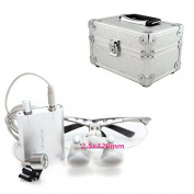 icarekit 2.5X 420mm! Silver Dental Surgical Medical Binocular Loupes + LED Head Light Lamp + Aluminium box