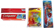 Plackers Kids 1st Floss Picks, Berry, Marvel Spiderman Toothbrush Set, 2 Pc. Kit, and Colgate Kids Cavity Protection Toothpaste, Bubble Fruit, 80ml