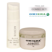 Shaving Acne Treatment Cream Acdue (10ml) + Post Hair Removal Cream Adroit (5ml) Skin Care Set By Omiera Labs