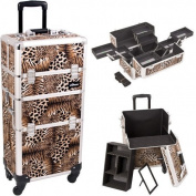 14.5 Inch Faux Leopard Print Cosmetic 2 in 1 Train Case Makeup Studio Organiser Professional Beauty Supply Tote with Four 360 Degree Rotating Wheels and Telescoping Tow Handle by MyGift