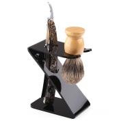Anddas Mens Shaving Kit Wood Handle Badger Hair Brush Straight Razor Shaving Stand