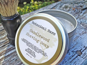 Botanical Bars Sandalwood Shaving Kit - Handmade Shaving Soap and Shaving Brush Kit - Sandalwood Shaving Soap
