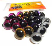 12 Pair 15mm Cat Eyes in Gold, Silver, Purple, and Pink