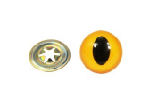 Animal Cat Eyes with Black Centres & Metal Washers Yellow 21mm