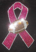 Football Rhinestone Pink Ribbon Cancer Awareness Hot Fix Heat Transfer
