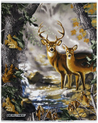 REAL TREE COTTON FABRIC BY SYKEL-REAL TREE CAMOUFLAGE DEER QUILT PANEL IN FORREST-SOLD BY THE PANEL