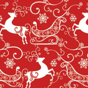 DASHING RED & WHITE REINDEER, SLEIGH & SNOWFLAKES Christmas Gift Wrap Paper - 4.9m Roll