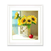 DOMEI 3D Stamped Cross Stitch Kit, Sunflower in Vase, 60cm x 80cm