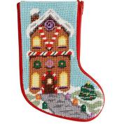 Stitch & Zip Gingerbread House Mini Stocking Needlepoint Kit