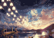 Greek Art Paintworks Paint Colour By Number Kits,Fireworks Season,41cm by 50cm