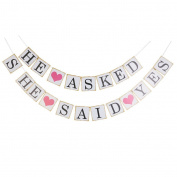 1 Set Pink Lettering He Asked She Said Yes Wedding Banner Photo Prop Garland Party Bunting