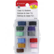 Singer Transparent Plastic Class 15 Bobbins Threaded in Case (12 Pack), Assorted Colours
