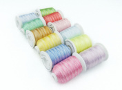 12 Spool Polyester Embroidery Machine Thread Set Variegated Colours for Home Sewing Machines 1000m/spool