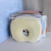 Mittagong Infant Headrest Prevent Flat Round Memory Foam Baby Pillow,Print Blue