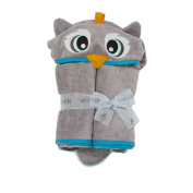 140cm x 80cm Owl Velour Toddler Towel, Grey, Frenchie Mini Couture