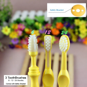 Benber Baby Bendable Training Toothbrush Triple Pack - 6 Month, 12 Month and 24 Month Silicone Toothbrushes for Baby to Toddler Toothbrush training - Comes with Safety Guard and 3 Toothbrushes
