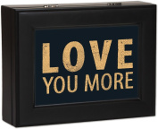 Typography Love You More Cottage Garden Matte Black Finish Jewellery Music Box Plays Song You Light Up My Life