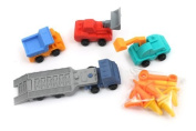 Iwako Trailer Construction Machine Trucks Japanese Erasers Blister Set NEW!