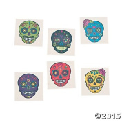 Day of the Dead Sugar Skull Tattoos - 72 ct