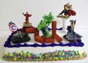Avengers 15 Piece Birthday Cake Topper Set Featuring Captain America, Iron Man, Incredible Hulk, Hawkeye, Thor and Themed Decorative Accessories - Cake Topper Includes All Items Shown