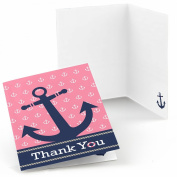 Ahoy - Nautical Girl - Party Thank You Cards - Set of 24