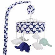 Just Born Musical Mobile Elephants, Navy/White