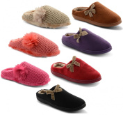 New Ladies Coolers Microsuede Fur Lined Warm Winter Slippers Slip On Mule Womens Girls Bow Furry Comfy Soft Indoor Shoes UK 3-8