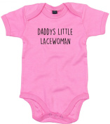 Lacewoman Baby Body Suit Daddys little Newborn Babygrow Pink with Black Print 9-12 months