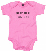 Dog Leech Baby Body Suit Daddys little Newborn Babygrow Pink with Black Print 3-6 months