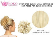 Synthetic Curly/ Wavy Scrunchie Hair Piece For Bun Or Ponytail-#613/18 Champagne Blonde
