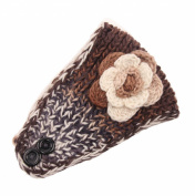 JTC Women's Flower Knitted Winter Wide Headband Khaki