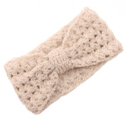JTC Women's Hollow Out Knitted Winter Headband Beige