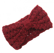 JTC Women's Hollow Out Knitted Winter Headband Dark Red