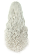 AGPtEK 80cm Heat Resistant Curly Wavy Long Cosplay Wigs-Silver white