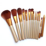StarHealth Premium Golden Cosmetic Wool Brushes Set Tools Cosmetics Eyeshadow Foundation Blending Blush Eyeliner Face Powder Kit 12Pcs