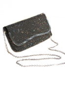 ICE (2531-1) Designer Look Soft Clutch Bag Diamante All Over Silver Black