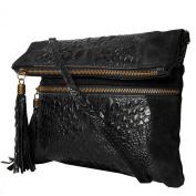 Leather Clutch , Shoulderbag (24,5 / 21 (28) / 2) real leather, smooth leather & Croco-look, Mod. 2080