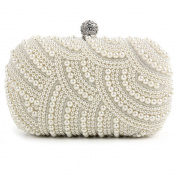 Ivory Gorgeous Handmade Pearl Party Prom Wedding Evening Clutch Hand Bag Purse