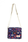 Multi Pocket Butterfly Design Oilcloth Cross Body Bag