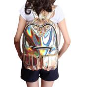 M-BAG Women Fashion Brilliant Hologram Laser Pu Leather Laptop Shoulder Bag School Backpack Gold
