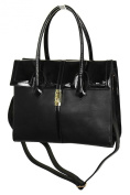 ICE (2527-1) Faux Leather Shopper Bag Patent Leather Contrast Effect Black