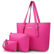 FAIRYSAN Large Square Soft Leather Solid-coloured Top-handle Bag for Women Ladies rose red
