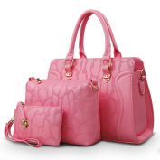 FAIRYSAN New Stone Embossed Pattern Simple Leather Handbag for Middle-aged Ladies and Women pink
