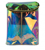 Retro Barrel Type Women's Pu Leather Hologram Rainbow Transparent Backpack