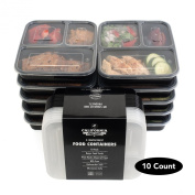 [10-Pack] Premium 3-Compartment Stackable Meal Prep Containers With Lids