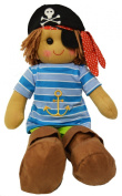 DF, A Boy's Pirate Rag Doll dressed in blue striped top with eyepatch and hat, 40 cm h