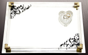 Accents by Jay Mirror Vanity Tray with Black Scroll Design and Gold Accents, 36cm by 25cm