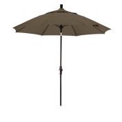 California Umbrella 2.7m Sunbrella Fabric Fibreglass Rib Crank Lift Collar Tilt Aluminium Market Umbrella with Black Pole, Cocoa