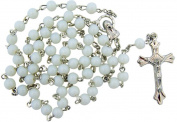 White Glass Beads Rosary, 6mm Beads, Great for Women or Girls